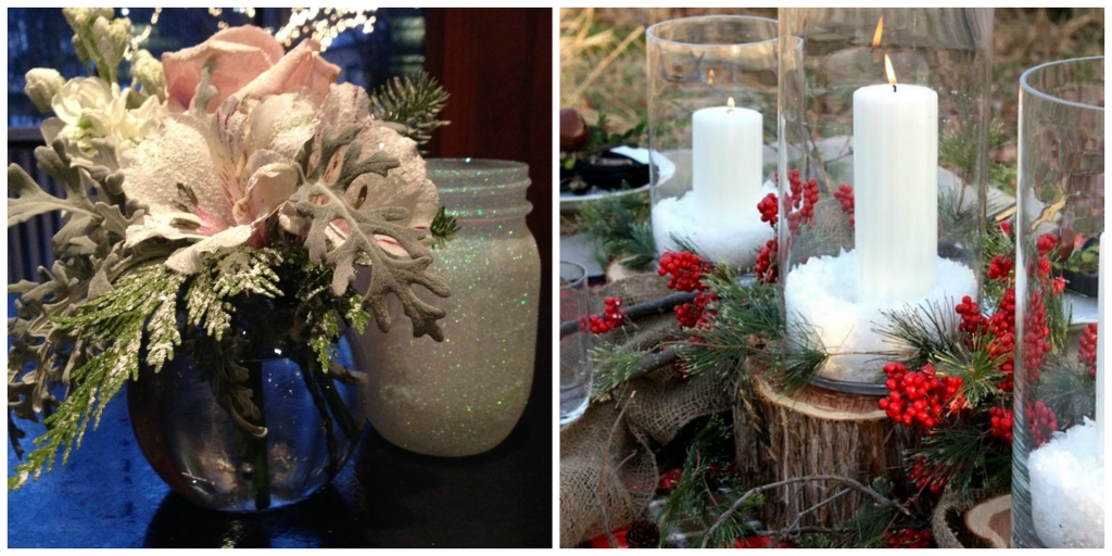 Holiday centerpieces, Commellini Estate Winter decor, Winter Wedding, Winter Event