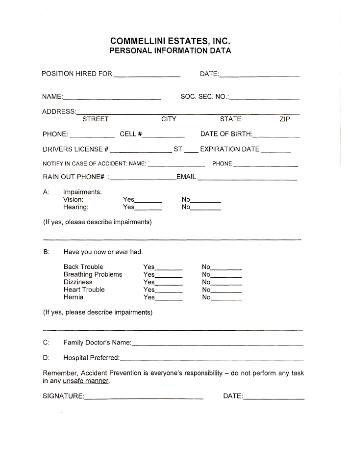 new employee personal information form