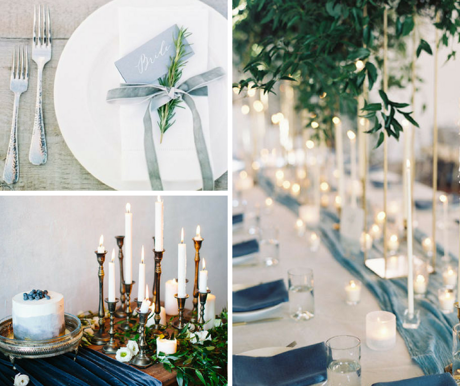Unveiled 2018 wedding trends all things decor commellini estate adding small amounts of velvet to your wedding decor is key and its common to do this by adding strands of ribbon around your table settings centerpieces junglespirit Gallery