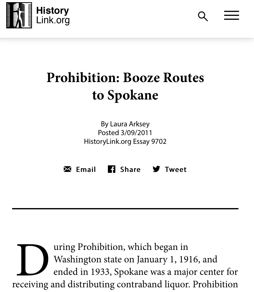 Prohibition: Booze Routes to Spokane